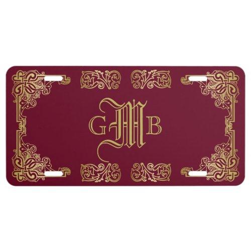 Wedding Monogram Classic Gold Frame Burgundy License Plate
