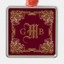 Wedding Monogram Classic Gold Frame Burgundy Metal Ornament