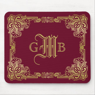 Wedding Monogram Classic Gold Frame Burgundy Mouse Pad