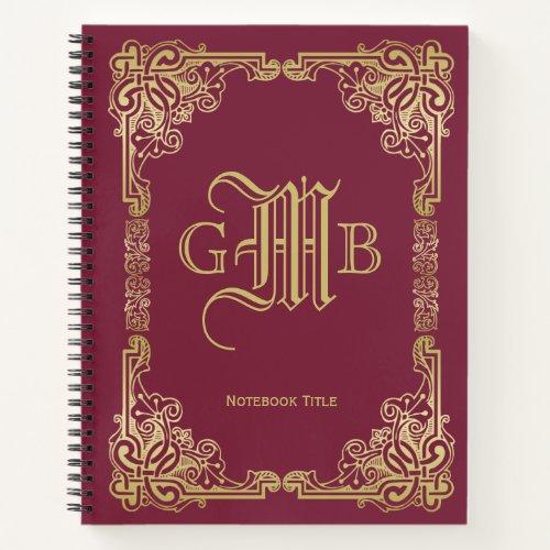 Wedding Monogram Classic Gold Frame Burgundy Notebook