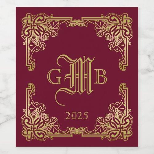 Wedding Monogram Classic Gold Frame Burgundy Wine Label