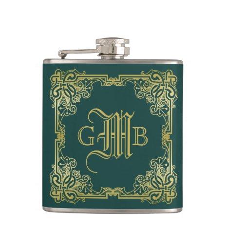 Wedding Monogram Classic Gold Frame Dark Green Flask
