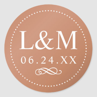 Wedding Monogram | Copper Classic Elegance Classic Round Sticker