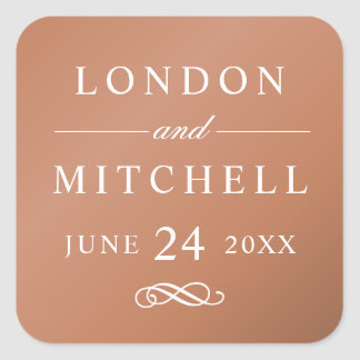 Wedding Monogram | Copper Classic Elegance Square Sticker
