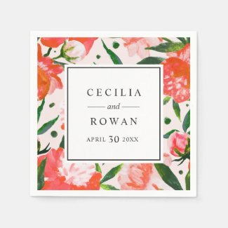 Wedding Monogram | Coral Watercolor Flowers Paper Napkin