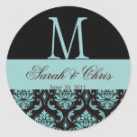 Wedding Monogram Damask Blue Black  Seal Classic Round Sticker