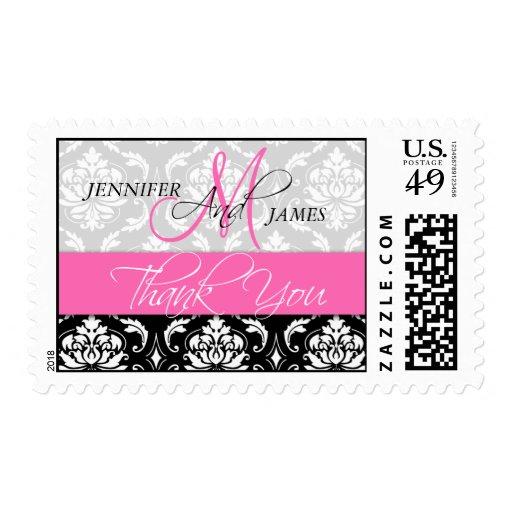 Wedding Monogram Damask Hot Pink Thank You Stamps