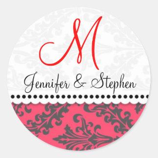Wedding Monogram Damask Seal Stickers : : Red