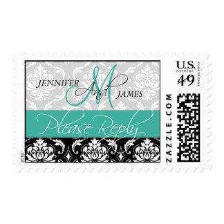 Wedding Monogram Damask Turquoise RSVP Stamps