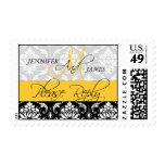 Wedding Monogram Damask Yellow RSVP Stamps