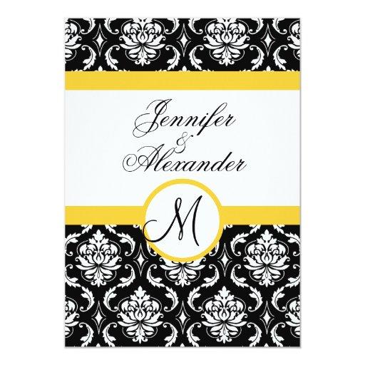 Wedding Monogram Damask YellowInvitation Front 5x7 Paper Invitation Card