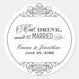 Wedding Monogram | Eat Drink & Be Married Classic Round Sticker