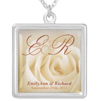 Wedding Monogram - Elegant Ivory Rose Pendant