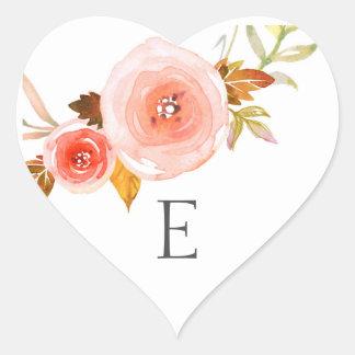 Wedding monogram envelope seals / blush floral heart sticker