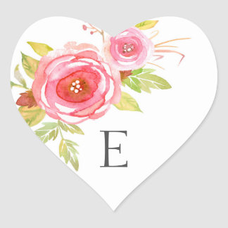 Wedding monogram envelope seals / pink floral