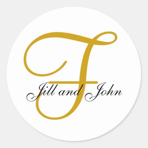 Wedding Monogram F Plus First Names Gold Sticker Zazzle