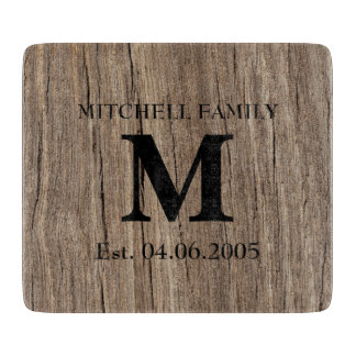 Wedding monogram faux wood initial family rustic cutting board