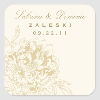 Wedding Monogram Favor Sticker | Gold Peony