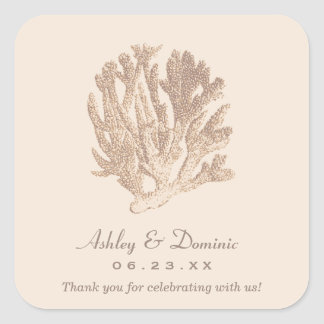 Wedding Monogram Favor Sticker | Ivory Coral