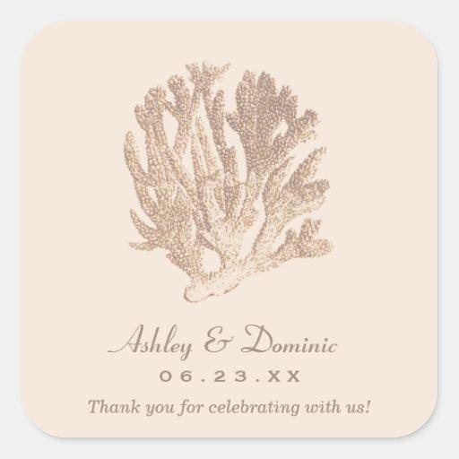 Wedding Monogram Favor Sticker | Ivory Coral
