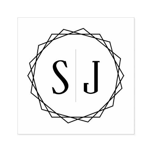Wedding Monogram  Geometric Border Rubber Stamp