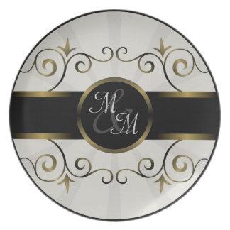 Wedding Monogram Gold Black Elegant Spiral Burst Dinner Plate