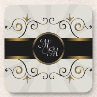 Wedding Monogram Gold Black Elegant Spiral Burst Drink Coaster