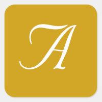 Wedding Monogram Gold White Square Stickers