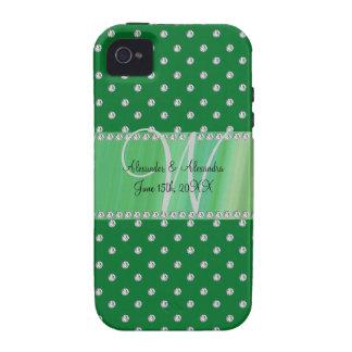 Wedding monogram green diamonds vibe iPhone 4 cover