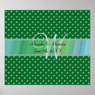 Wedding monogram green diamonds poster
