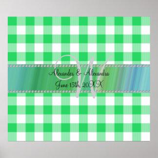 Wedding monogram green gingham checkers poster