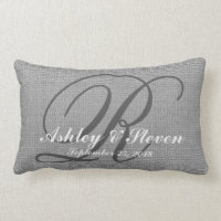 Wedding Monogram Grey Rustic Linen Look Lumbar Pillow