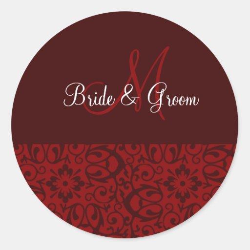 Wedding Monogram In Dark Red Classic Round Sticker