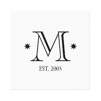 Wedding monogram initial date black white modern canvas print