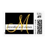 Wedding Monogram Initial Names Black White Yellow Postage