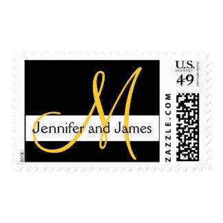 Wedding Monogram Initial Names Black White Yellow Postage Stamp