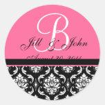 Wedding Monogram Initial Names Pink Damask Seal Round Stickers