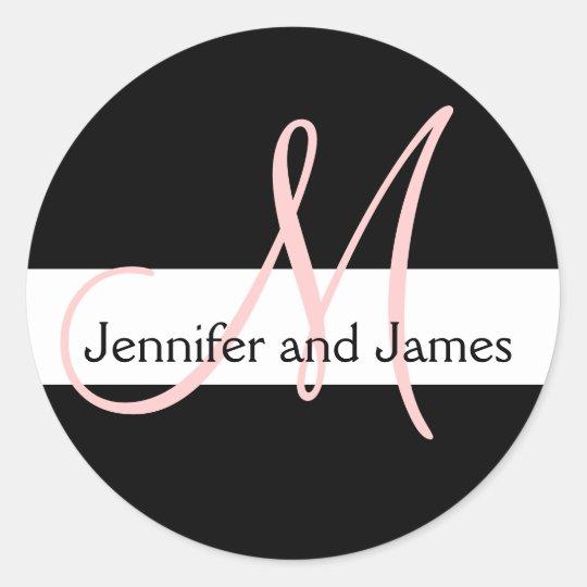 Wedding Monogram Initial Names Pink White Black Classic Round Sticker
