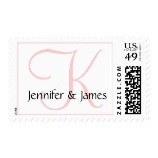 Wedding Monogram K Bride Groom Names Pink Stamp