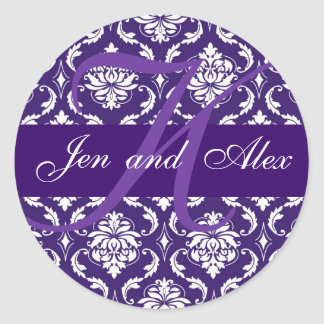 Wedding Monogram K Purple Damask Favor Sticker