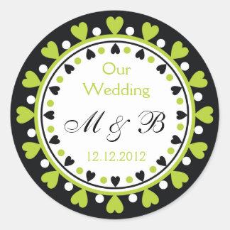 Wedding Monogram - Leaf Green Hearts Classic Round Sticker