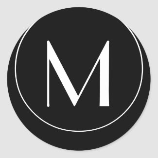 Wedding Monogram M Black and White Label sticker