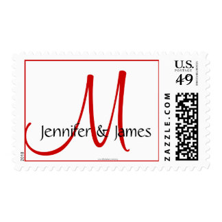 Wedding Monogram M Bride Groom Names Red Stamp
