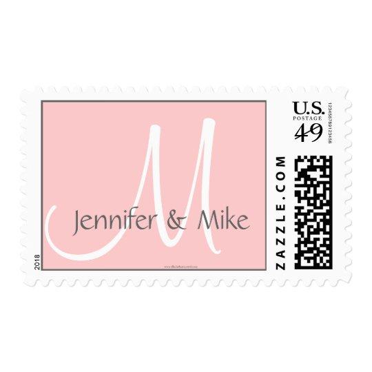 Wedding Monogram M Bride Groom Pink & Grey Stamp