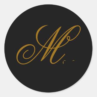 Wedding Monogram M Gold & Black Seal Sticker