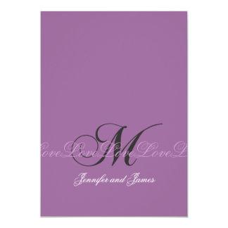Wedding Monogram M Wedding Invitations Purple