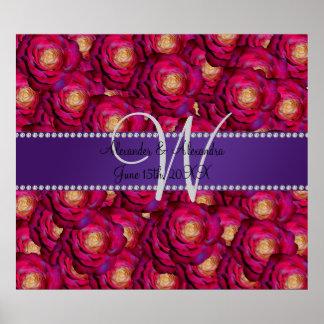 Wedding monogram maroon pink roses poster