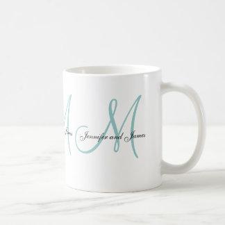 Wedding Monogram & Names Blue White Favor Mug