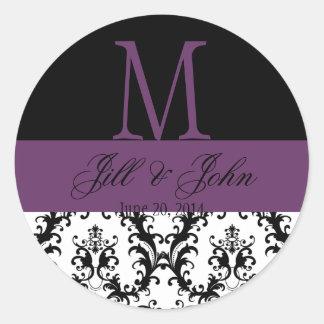 Wedding Monogram Names Date Damask Black Purple Classic Round Sticker