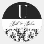 Wedding Monogram Names Date Damask Black White Round Stickers